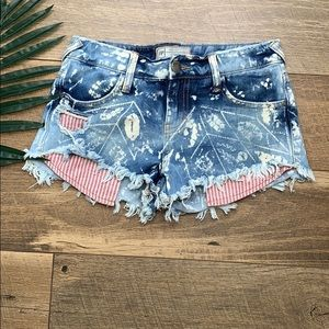 Free People Spotted Destroyed Shorts sz 24